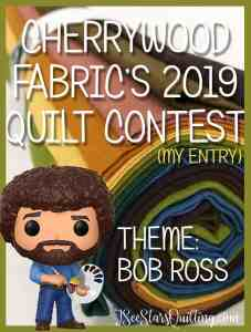 """These are pictures of my Cherrywood Quilt contest Piece. The theme is Bob Ross and I am so """"happy happy happy"""" with the way it turned out!"""
