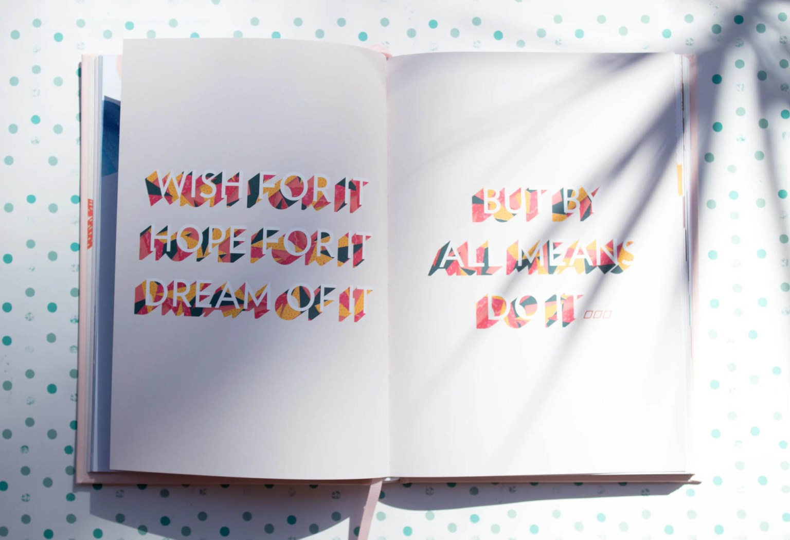 Journal with the words - wish for it, hope for it, dream of it but by all means do it