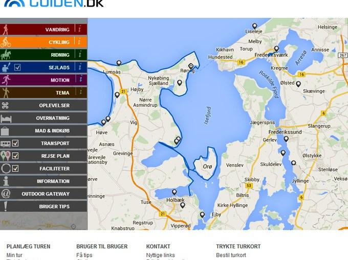 Skærmbilled af hjemmesiden Frilufts-guiden