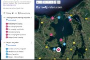 Googlekort med kystnære campingpladser omkring Isefjorden og de 4 færger. Udarbejdet af Isefjorden.com - Frank Skibby Jensen