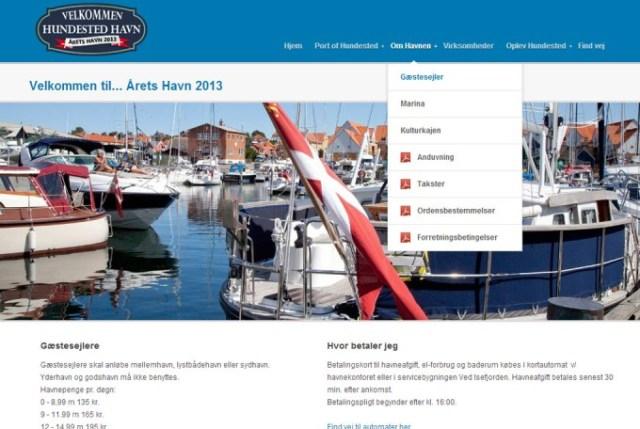 Skærmbillede af Hundested havn's hjemmeside