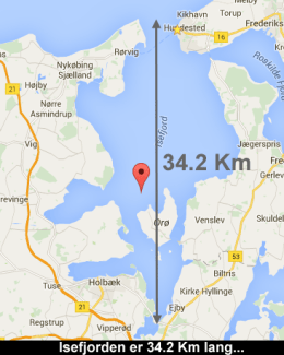 Isefjorden er 34.2 Km fra Munkholmbroen til Isefjorden Nord