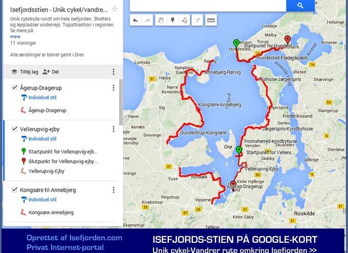 Google-kort med den unikke Isefjordssti