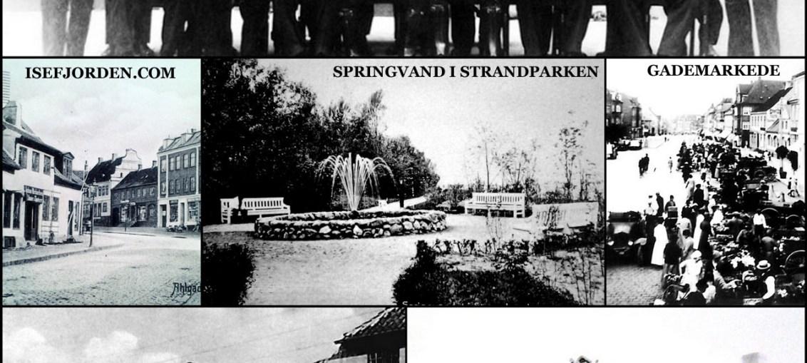 Collage med lokalhistoriske fotos fra Holbæk - Isefjorden.com