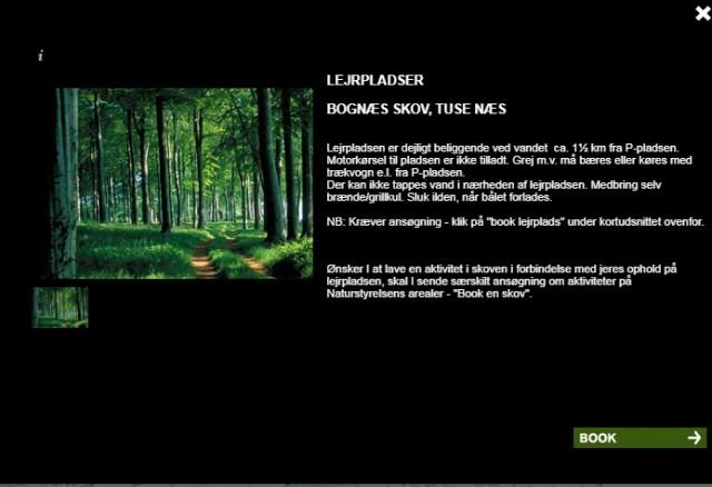 Skærmbillede fra Naturstyrelsens hjemmeside http://www.booking.naturstyrelsen.dk/Home/Kort