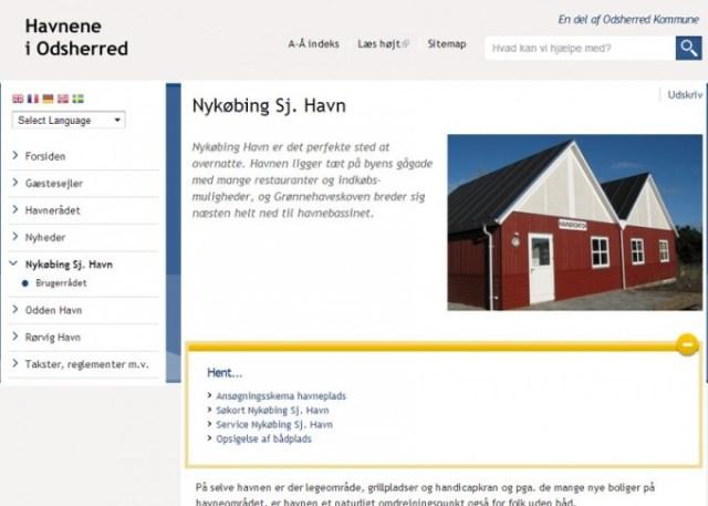 Skærmbillede af Nykøbing Sjælland Havn's hjemmeside