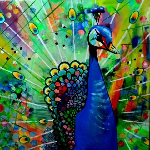 Påfugl2 - Akrylmaleri af Mette Thorgård