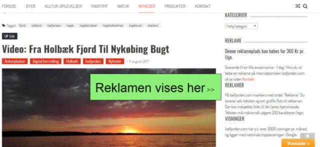 Visning af reklame-blok på Isefjorden.com