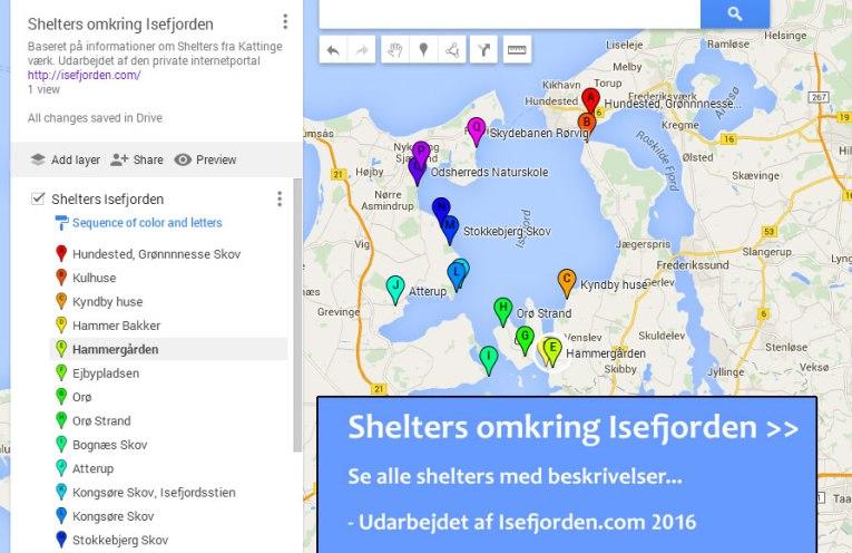 Google-kort med shelters omkring Isefjorden - Udarbejdet af Isefjorden.com