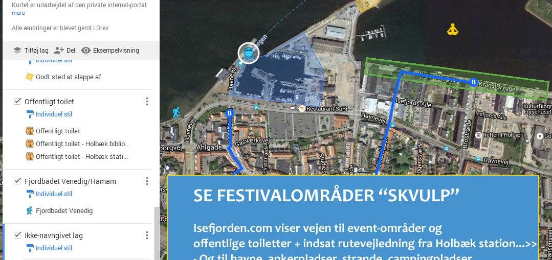 Googlekort til Skvulp festival-områder. Udarbejdet af Isefjorden.com - Frank Skibby Jensen