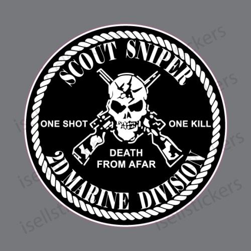 MA-3090 Scout Sniper 2D Marine Division Decal Sticker