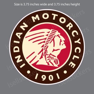 Indian Motorcycle Head Round Red Brown 1901 Decal Sticker