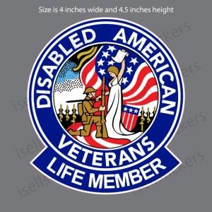 DAV Disabled American Veterans Life Member Military Bumper Sticker Window Decal