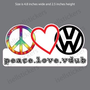 VW-101-TD Tie-Dye Hippy Peace Love Vdub Volkswagen Swag Decal Sticker