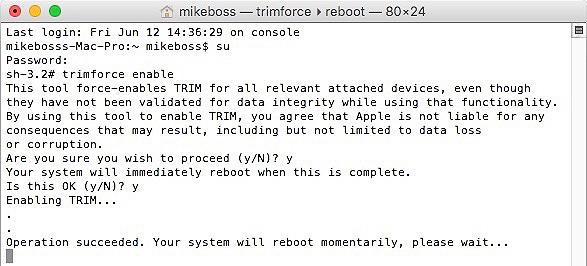 Ejemplo de activación de TRIM bajo el terminal de comandos en la beta de OS X El Capitan