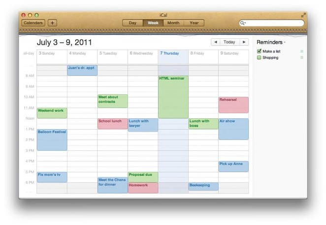 Skeumorfismo Apple en la app Calendario