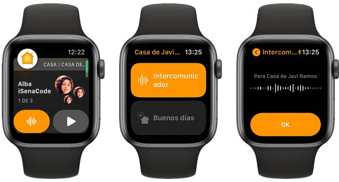 Usando el intercomunicador desde el Apple Watch y el HomePod