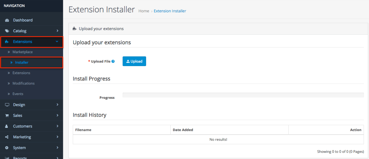 OpenCart Extension Installer
