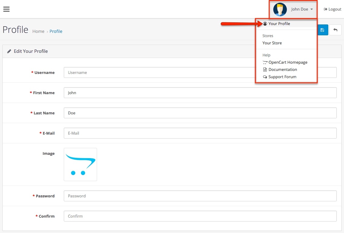 OpenCart Admin Profile