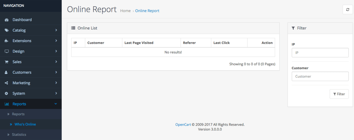OpenCart 3 Customers Online