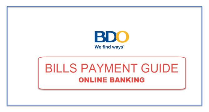 BDO Bills Payment Guide for Online Banking