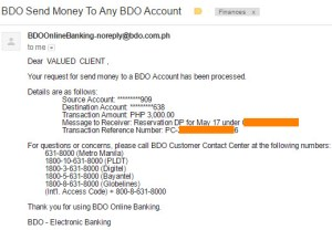 BDO Success Transaction Email Confirmation