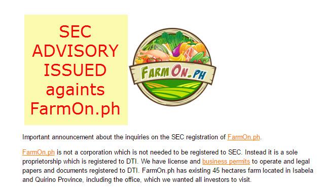 FarmOn versus SEC Advisory