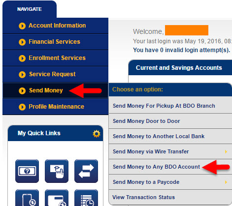 Send money BDO to unregistered account