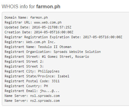 Whois Info for Farmon.ph website