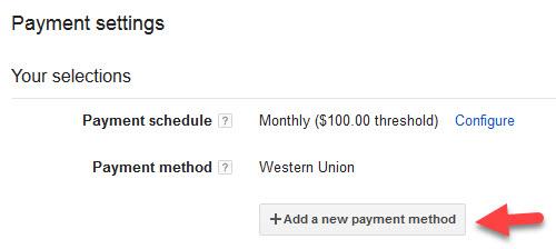 Choosing Google Adsense Payment Method