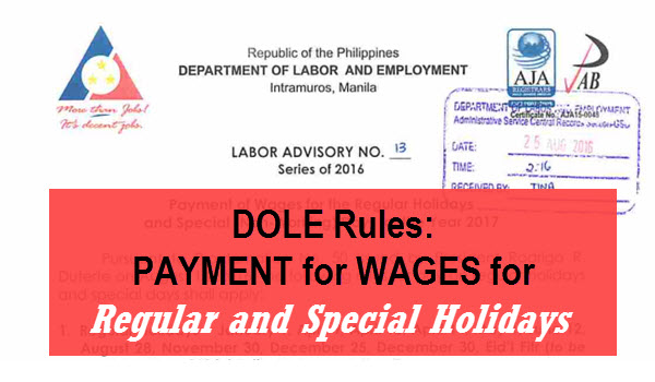 DOLE Holiday Pay Rules