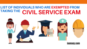 civi service exam list of exemptions