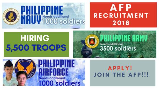 afp hiring 5500 troops army navy airforce