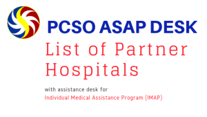 PCSO ASAP DESK hospitals and locations