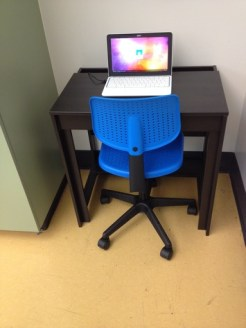 Cute Chromebook, chair, desk.