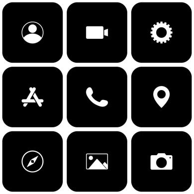 black icon apps
