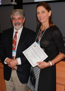 Elise Heon receives Certificate and Medal for giving the Franceschetti Lecture
