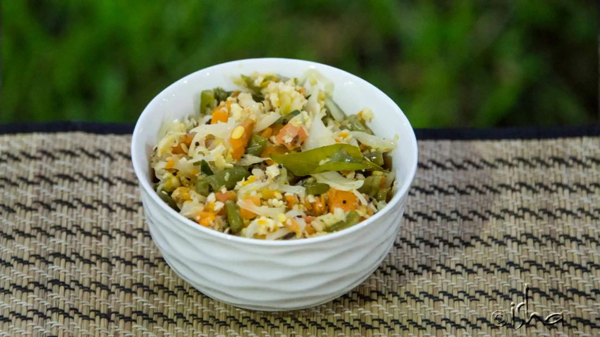 Beans carrot cabbage Poriyal with Grated coconut