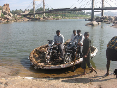 Coracle Rides at Hampi carrying bikes