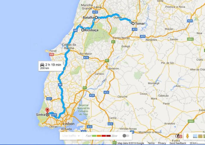 Road trip Sintra to Tomar