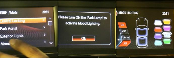 Tata Hexa Mood Lighting