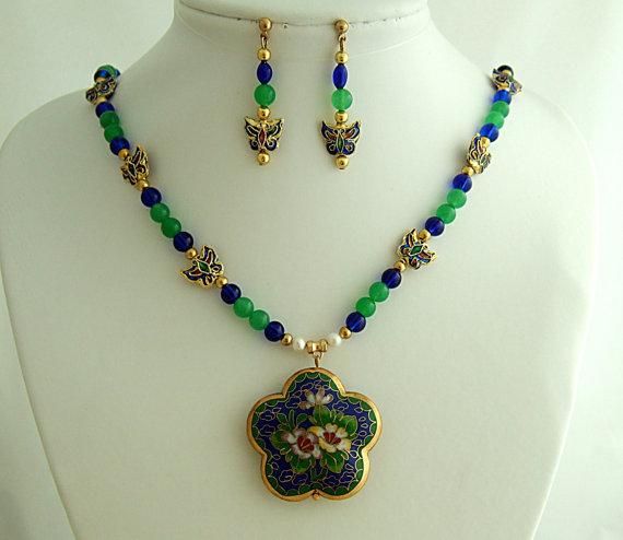 Vintage Floral Cloisonne Pendant Necklace Earrings