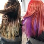 ハイトーンカラーを綺麗に染めるには事前のベース作りが大事!髪に残ってる色ムラを修正して作るレッドのベースにインナーでパープルを入れたデザインカラー
