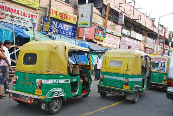 Autos stuck in a traffic jam in Gariahat - the famous market area in Kolkata