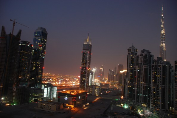 Business Bay district and the Burj Khalifa - at nighttime