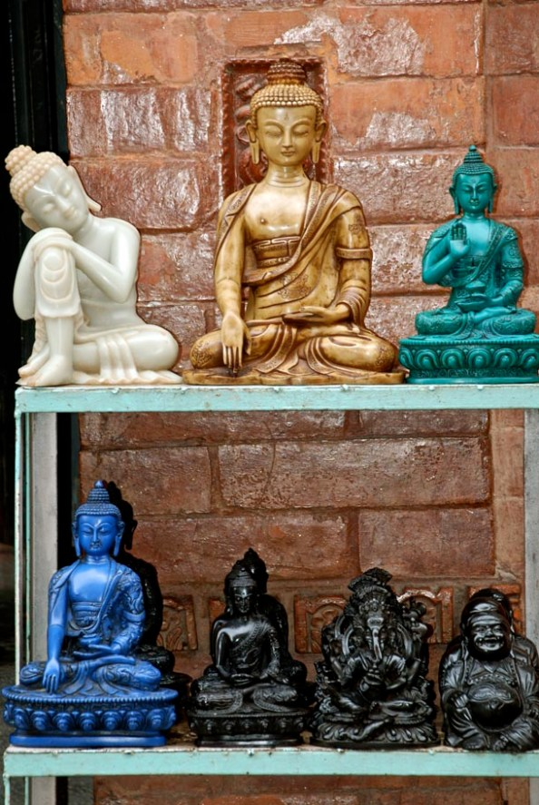 Buddha statues in different shades and material