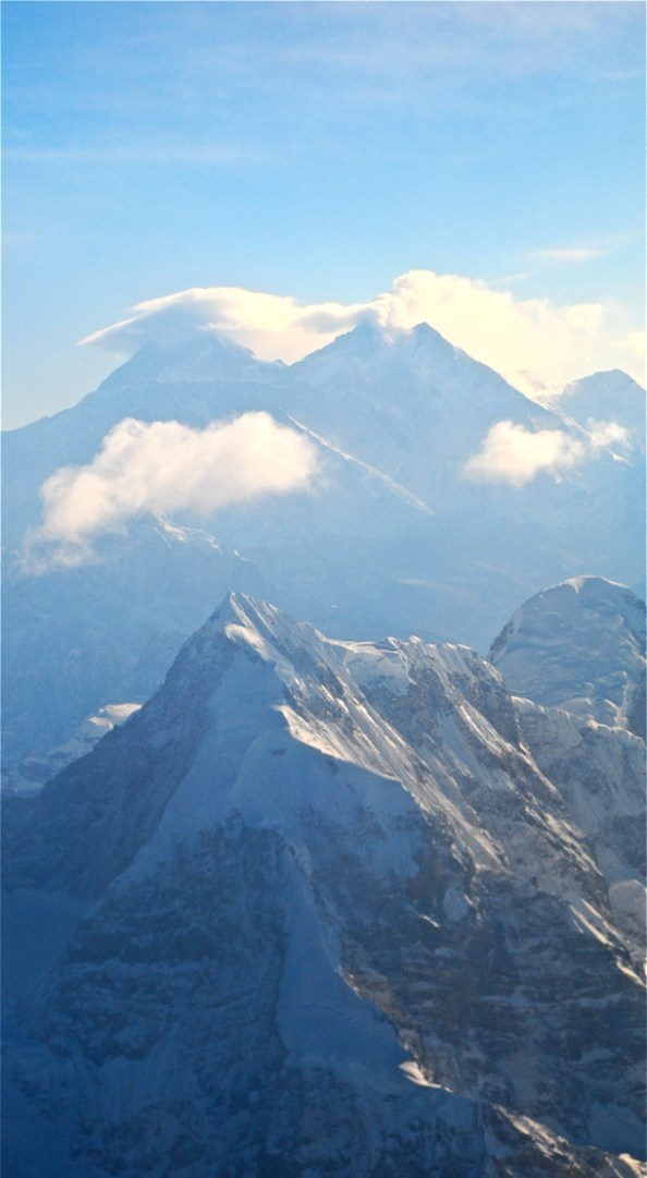 Finally, the Mt Everest! Mt Everest is to the left and Lhotse is to the right