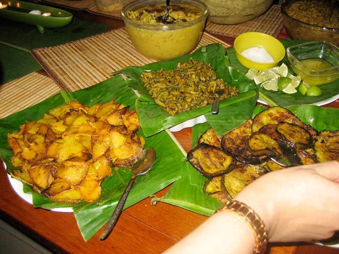 Traditional Bengali food in Banana leaf
