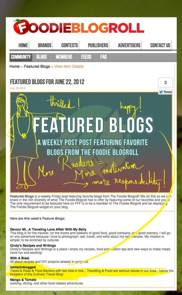 Featured in Foodie BlogRoll & Green Mango Chutney