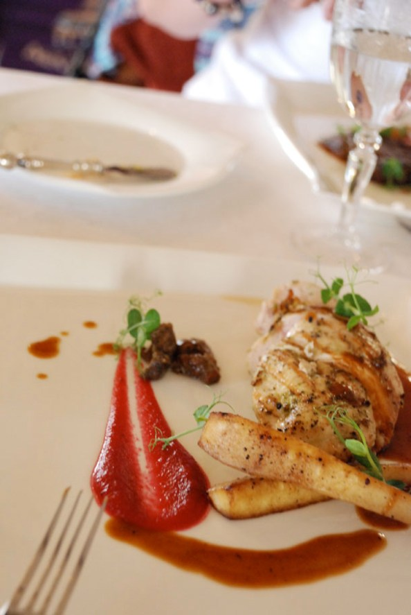 Chicken Fillet with a Beetroot Mousse, sautéed Wild Mushrooms, glazed Parsnips and a Shallot Jus